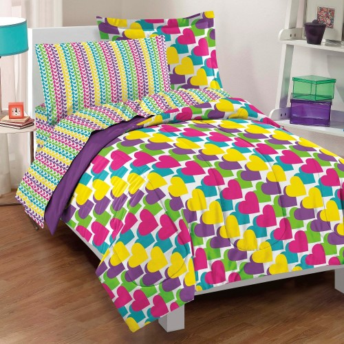 Cute Rainbow Hearts Comforter Set