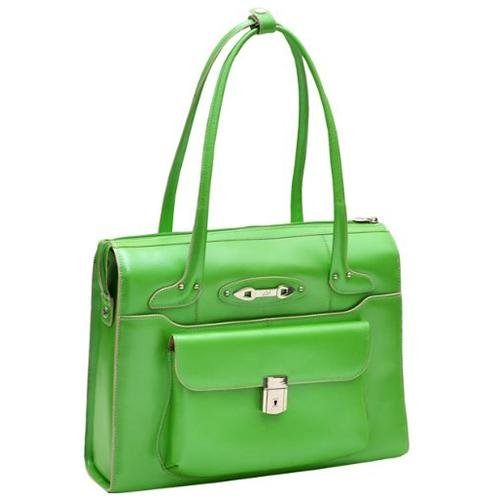 green leather laptop bag