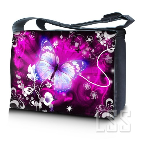 Cute Purple Butterfly Laptop Messenger Bag