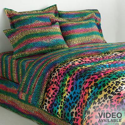 rainbow leopard comforter