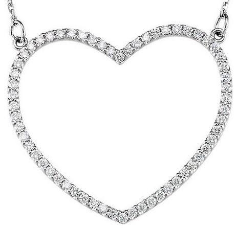 huge diamond heart pendant necklace