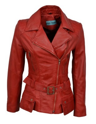 cool red leather jacket for women