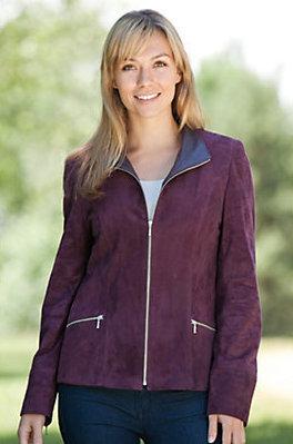 purple suede jacket for women