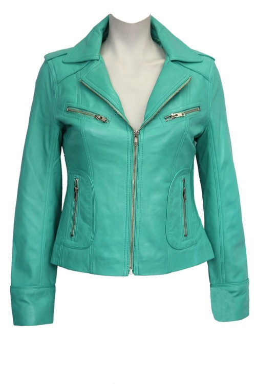 Turquoise WASHED Biker Motorcycle Style Soft Real Nappa Leather Jacket