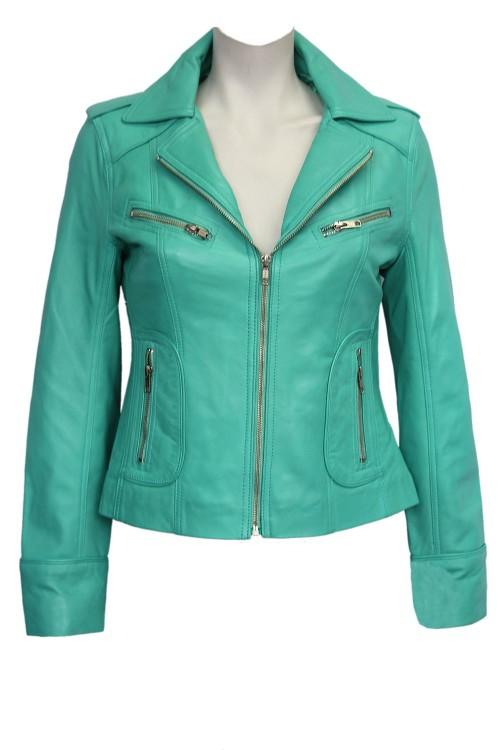 Turquoise WASHED Biker Motorcycle Style Soft Real Nappa Leather Jacket