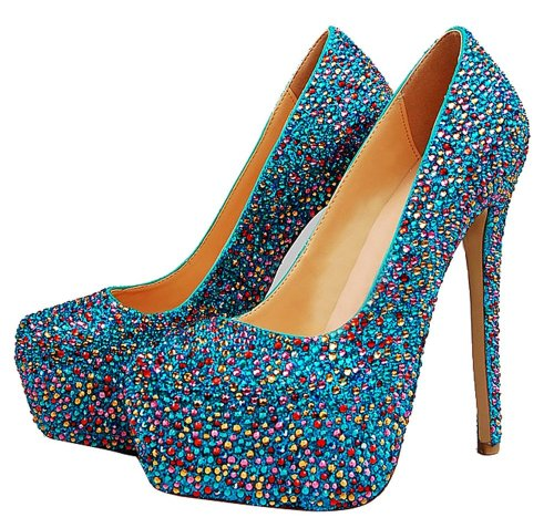 Crystal Sequins Sheepskin Pumps