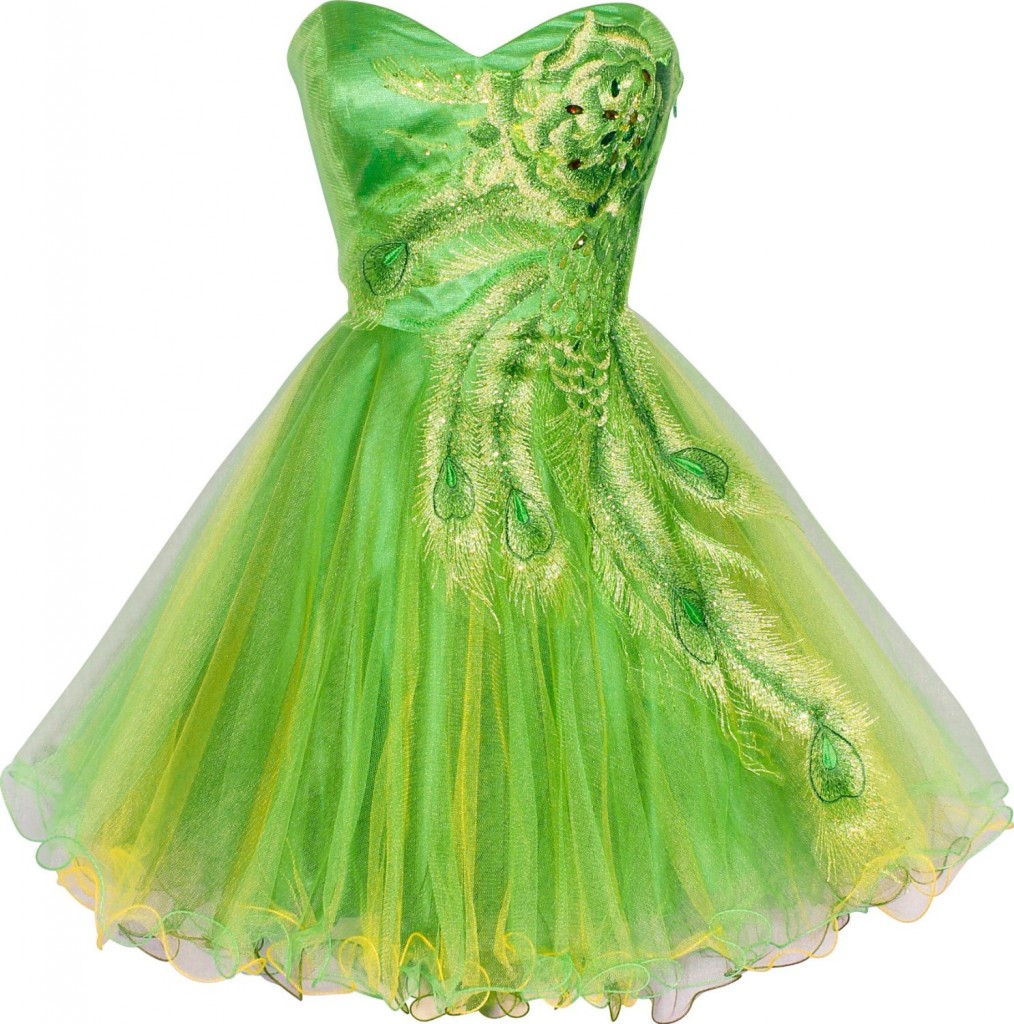 Cute Metallic Lime Green Short Prom Dress