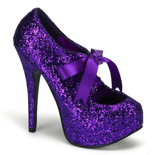 purple glitter pumps