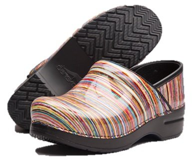 Professional Rainbow Striped Clogs for Women