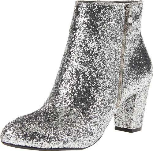 sparkly silver booties