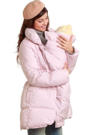 pink winter coat with baby pouch
