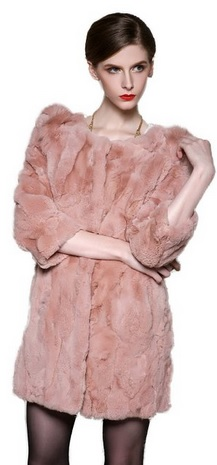 Coral Pink Rex Rabbit Fur Coat