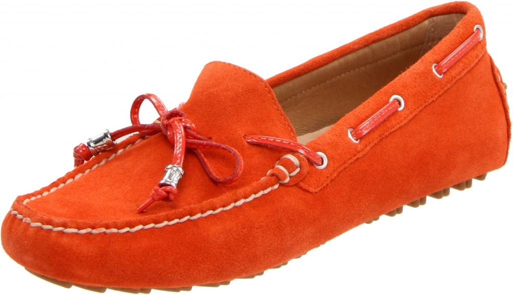 orange leather loafers for women