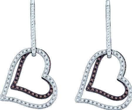 romantic COGNAC Diamond Ladies HEART Earrings