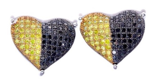 Cool Black and Yellow Diamonds Heart Shaped Earrings