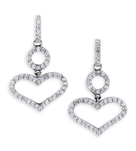 best diamond heart shaped earrings for women