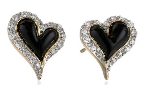 Gorgeous Onyx Diamond Heart Shaped Earrings