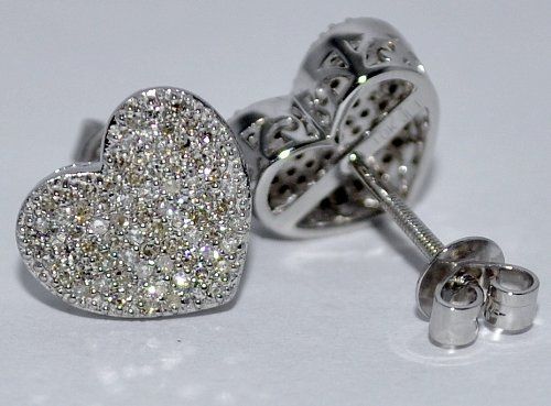Cute Heart Shape Diamond Stud Earrings