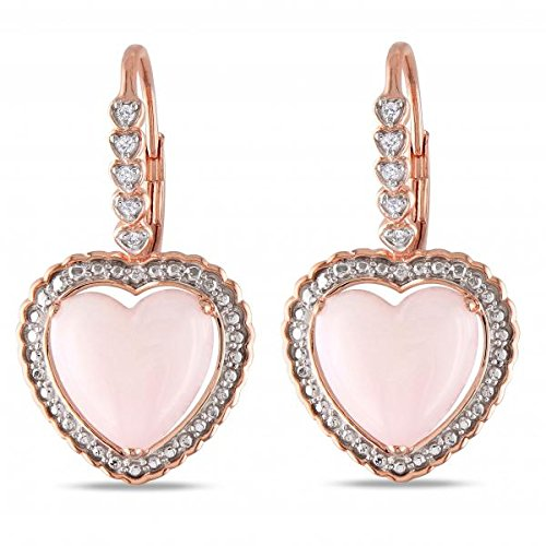 Pink Heart Shaped Opal and Diamond Drop Earrings