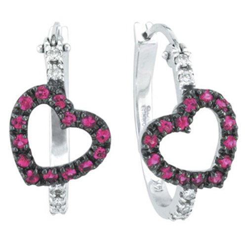 Pink Sapphire and Diamond Heart Hoop Earrings 14k White Gold