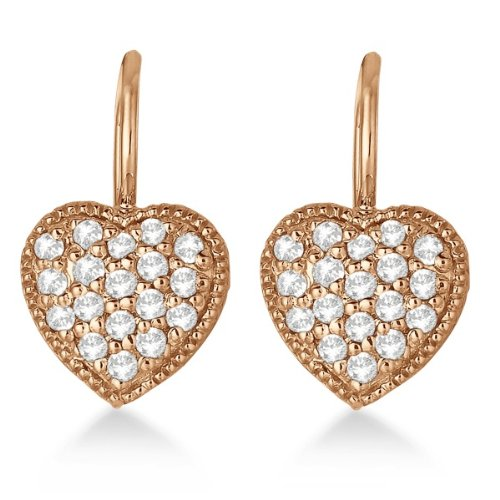 Rose Gold Heart-Shape Diamond Earrings