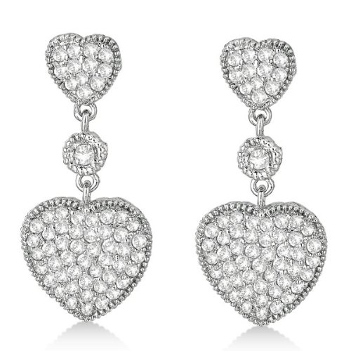 Gorgeous  Milgrain Heart Shape Dangling Diamond Earrings 14k White Gold