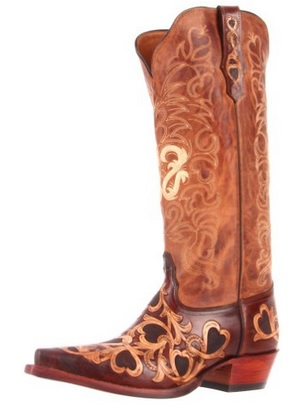 girly western boots hearts design