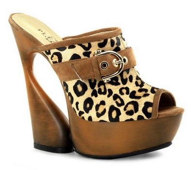 Leopard Print Sandals Faux Wood Sculptured Heel