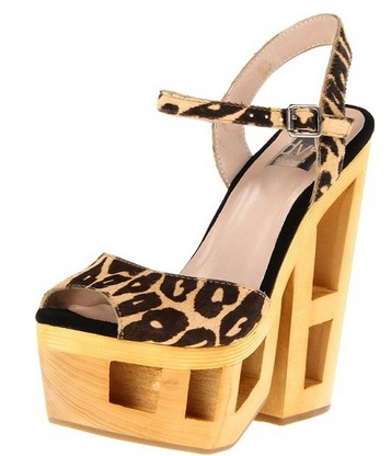 unique leopard print platform sandals