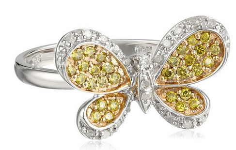 10k White Gold Butterfly White and Yellow Diamond Ring