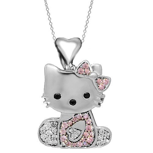 18K White Solid Gold Womens Diamond Hello Kitty Pendant