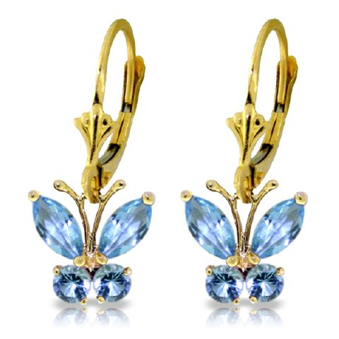 14k Solid Gold Blue Topaz Butterfly Earrings
