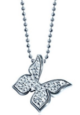 silver and White Gold Butterfly Pendant Necklace