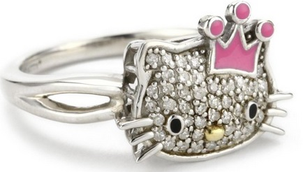 cute hello kitty face diamond ring
