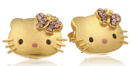"Hello Kitty ""Butterfly Kitty"" Gold Plated with Swarovski Outline Stud Earrings"