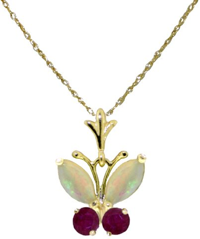 14k Gold Butterfly Pendant Necklace with Genuine Opals & Rubies