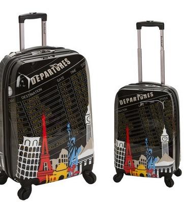 Fun Travel Theme 2 Piece Upright Luggage Set