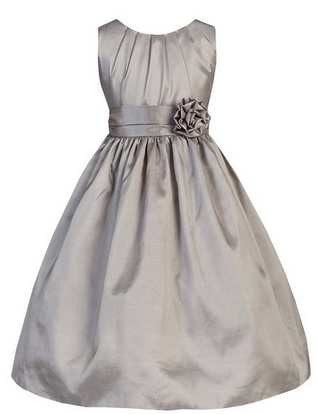 Cute Silver Flower Girl Dress