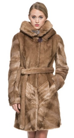 Women's Brown Knee length Mink Hooded Faux Fur Coat with Buckles