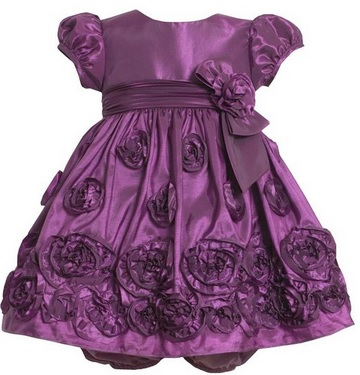 Cute Rosette Border Purple Taffeta Toddler Girl Dress