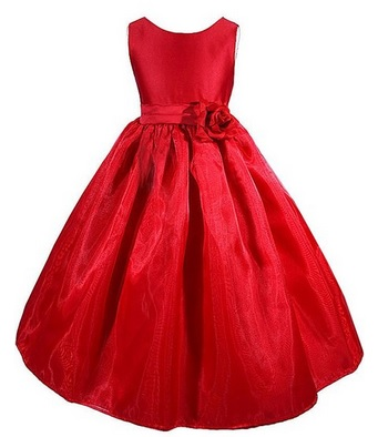 Red Satin Flower Girl Pageant Dress