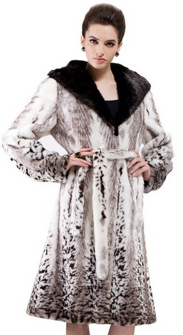 Women's White Mink Faux Fur Coat Full Length with Snow Leopard Print