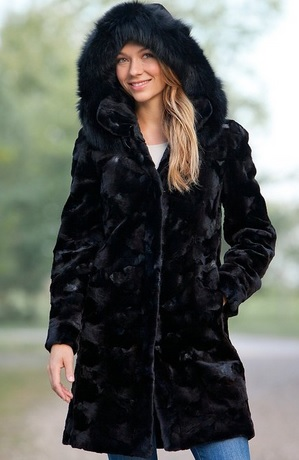 Warmest Black Mink Fur Coat for Women