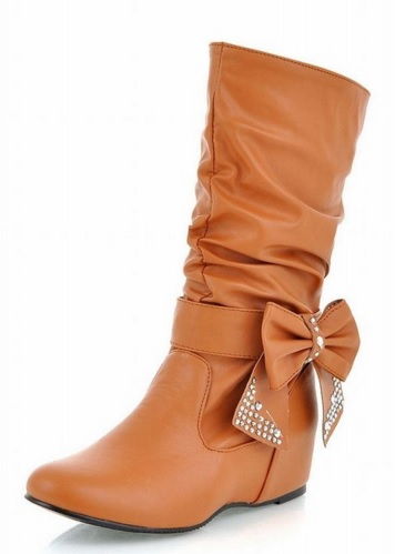 Cute and Girly Flat Boots for Teens with Cute Bow Design