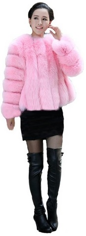 Cute Pink Fox Fur Jacket