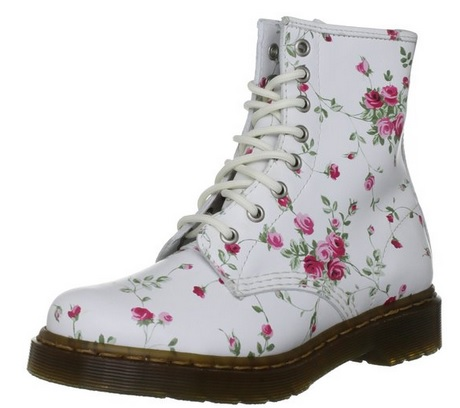Cute White Floral Leather Boots for Teen Girls