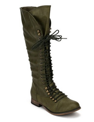 Military Green Knee High Lace-Up Combat Boot
