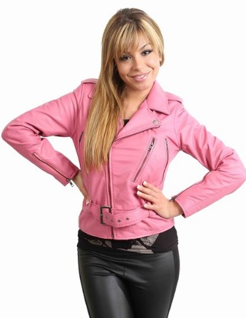 Pink Biker Leather Jacket for Women