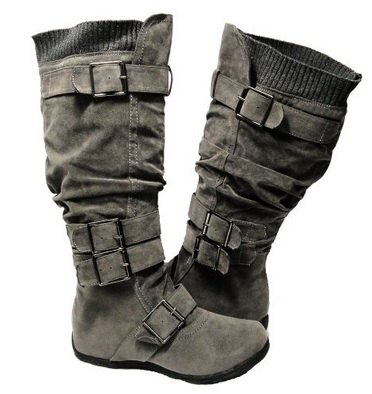Gray Military Knee High Faux Suede Flat Winter Buckle Boots