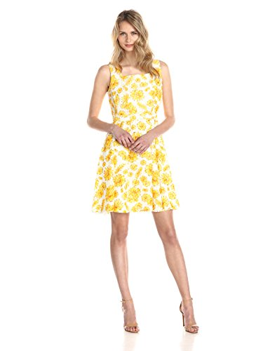 Women's Sleeveless Daisy Print Summer Dress
